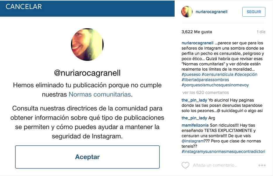Nuria Roca: censura en redes sociales