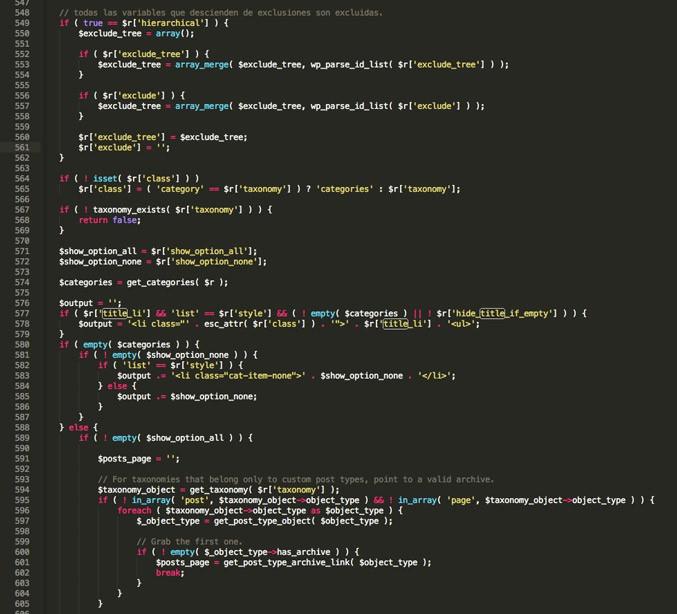 error en las categorías de wordpress