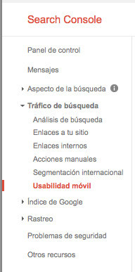 usabiilidad móvil search console